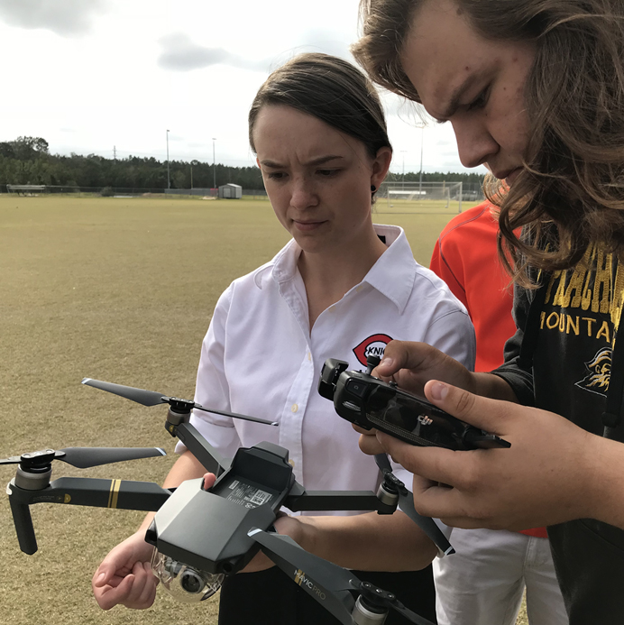 Students with drone